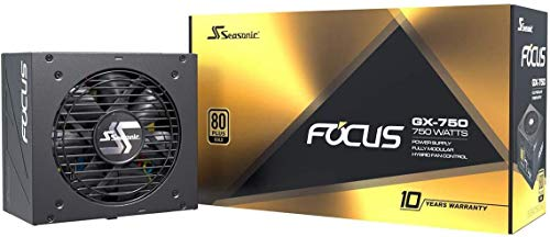 Seasonic Focus GX 750W Power Supply, Full Modular, 80 Plus Gold, 90% Efficiency, Cable-Free Connection, Hybrid Silent Fan Control, 10 Years Warranty, Power and Performance | Black
