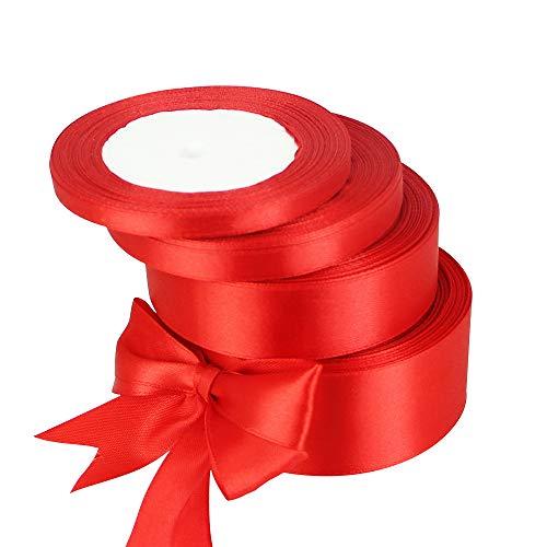 Golrisen 100 Yards Satinband Rotes Geschenkband Stoff Schleifenband Geschenk Dekoband Hochzeit Rot Satinband 6/9/25/38mm Breit Geschenkband Deko für Weihnachten Taufen Geburtstag Geschenk 4 Rolle