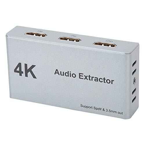 logozoee Extractor de Audio HDMI, Distribuidor de Audio HDMI de Control Manual, Convertidor de Audio HDMI a HDMI, Soporte para HDR con Puertos de 3.5 mm Conversión de Audio Extracto de Audio