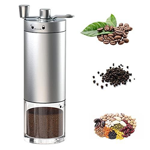 Ręczny młynek do kawy, przenośny młynek do ziaren kawy z regulacją ceramicznej gry, ręczny młynek ze stali nierdzewnej do ekspresu Aeropress, Drip Coffee, espresso, French Press i Turkish Brew