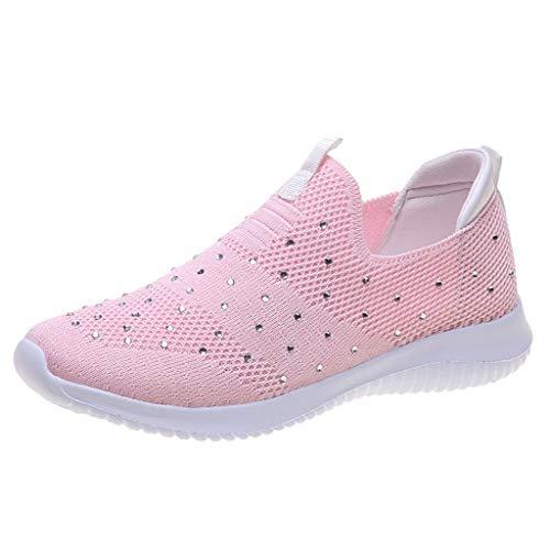 Deloito Damen Mode Draussen Freizeit Sneaker Mesh Turnschuhe Lässige Sportschuhe Laufen Weicher Boden Strass Flache Wanderschuhe (Rosa,40 EU)