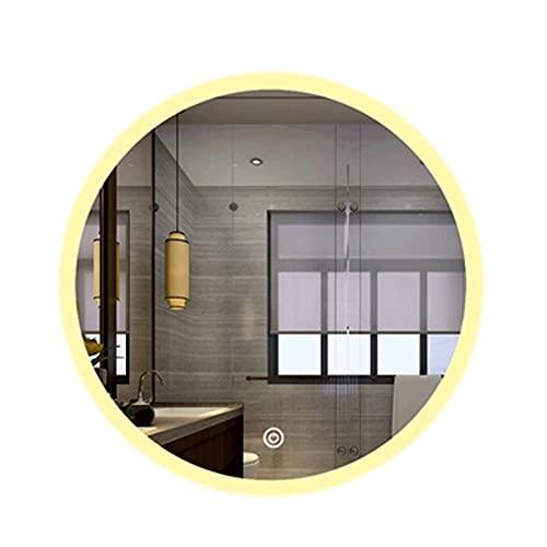 CHYOOO Specchio Bagno Moderno 80 Cm Nuovo Design Specchio Bagno Rotondo LED Con Dimmerabile Antiappannamento Visualizzazione Dell'ora Specchio Per Trucco Specchio Moderno Parete Specchio trucco illumi