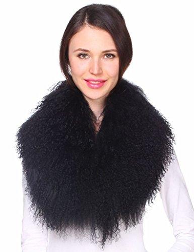 Ferand - Bufanda de Lujo Cuello de Piel de Lana de Cordero de Mongolia Auténtica para Ropa de Abrigo de Mujer