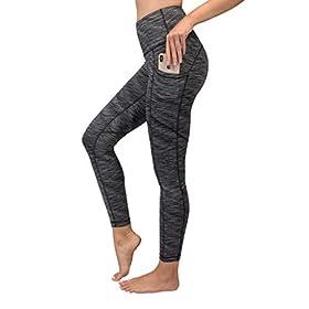 90 Degree By Reflex Womens Power Flex Yoga Pants – Black Space Dye – Medium