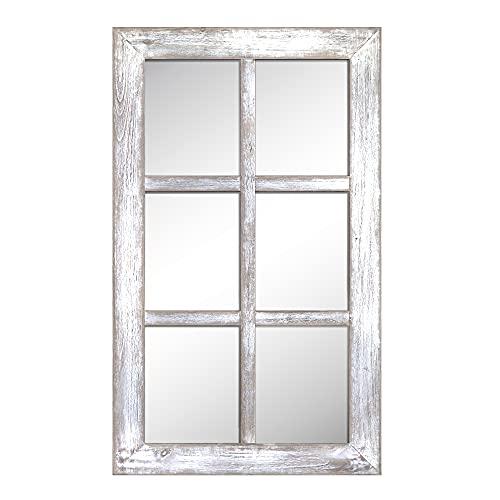"Barnyard Designs 24"" x 40"" Decorative Windowpane Mirror, Rustic Farmhouse Distressed Wood, Vertical or Horizontal Hanging Mirror Wall Décor, White"