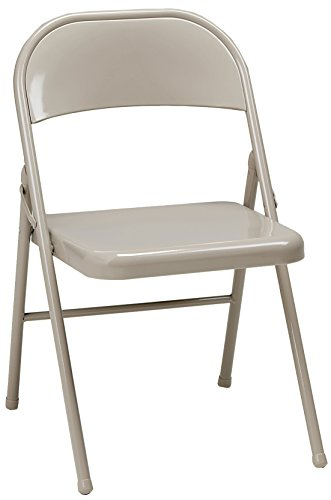 MECO 4-Pack All Steel Folding Chair, Buff Frame