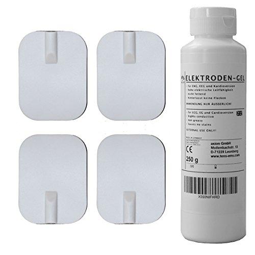 Dauer-Elektroden 45x60mm + Kontaktgel (250g) zur sofortigen Nutzung. Für TENS & EMS Geräte mit 2mm-Steckanschluss