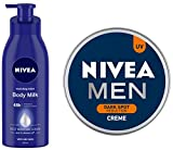 NIVEA Nourishing Lotion Body Milk With Deep Moisture Serum And 2x Almond Oil for Very Dry Skin, 400ml And NIVEA Men Creme, Dark Spot Reduction Cream, 150ml