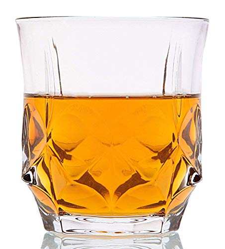 'Crystal Cask' Whiskey Glasses - Lead Free Crystal. Set of 6 Unique Rocks Tumblers (10oz) for Liquor, Bourbon or Scotch. Perfect as a Gift.