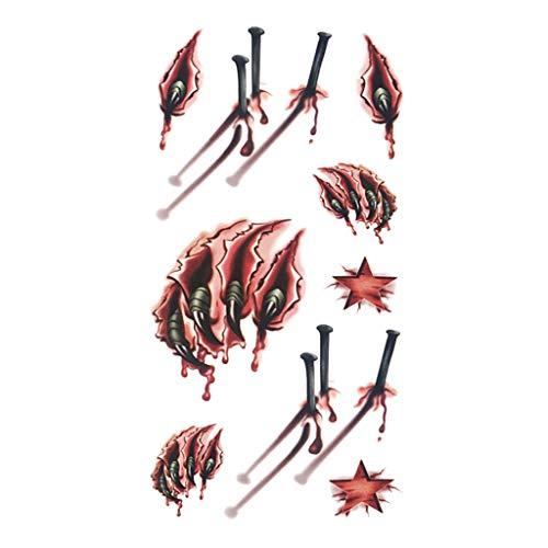 Kapian Halloween Temporäre Tattoos Realistisch Halloween Narben Wunden Tattoos Zombie Schminke Scars Tattoo, Gefälschter Scab Blut Kratzer Aufkleber für Halloween Kostüm Makeup und Cosplay