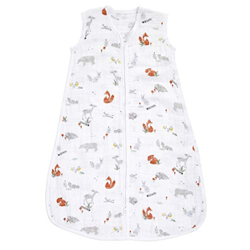 aden + anais Baby Sleeping Bag, 100% Cotton Muslin, Wearable Swaddle Blanket for Girls & Boys, Newborn Sleep Sack, Breathable & Lightweight, TOG Rating 1.0, Naturally Eco Forest, Large, 12-18 Months