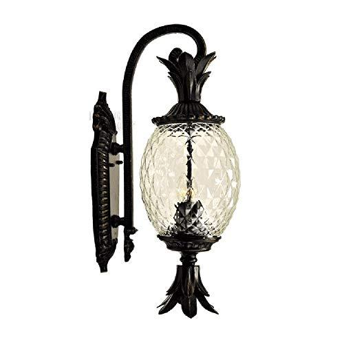 Big Shark buitenwandlampen, gietijzer, zwart, aluminium, halve lantaarn, wandlamp met helder glas, lantaarn, garage, balkon, trappenhuisverlichting, buitenwandlamp