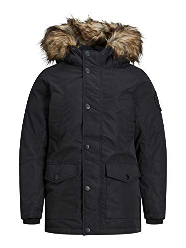 JACK & JONES Boy Parka Jungs Kunstfell Kapuzen 164Black