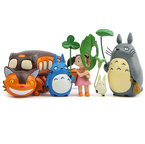 5 Piezas Totoro Figuras Gato Autobús con Hoja Mi Vecino Figurita Anime Mini Figuras Colección Modelo Juguetes para Bebé