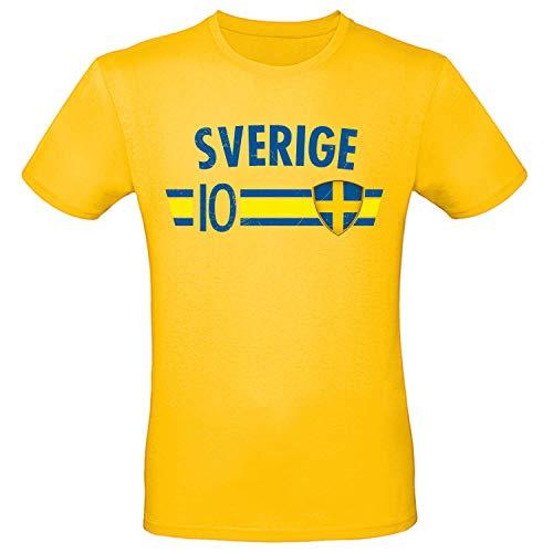 Shirt-Panda Fußball WM T-Shirt · Fan Artikel · Nummer 10 · Passend zur Weltmeisterschaft · Nationalmannschaft Länder Trikot Jersey für 2022 · Herren Damen Kinder · Schweden Sverige Sweden 3XL