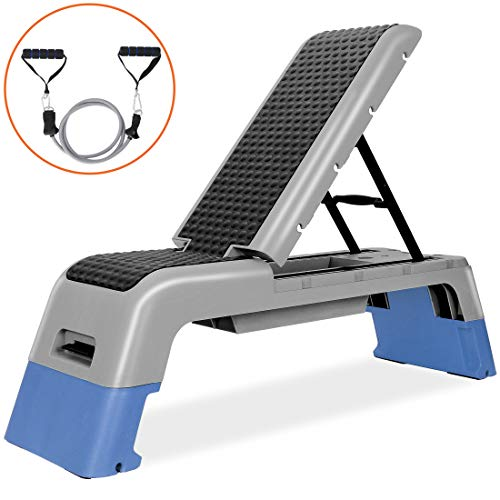 ANT MARCH Aerobic Deck Adjustable Workout Aerobic Stepper Step Bench Platform Adjustable Exercise Bench Fitness Deck Stepper for Exercise Home Gym Aerobic Step Incline Strength Training