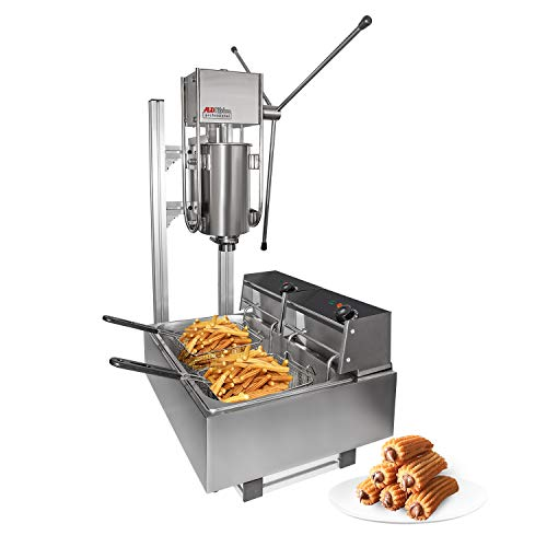 ALDKitchen Churros Machine   3-Hole Nozzles   Manual Churro Maker with Deep Fryer   Churro Cutter   Stainless Steel (Churro + fryer)