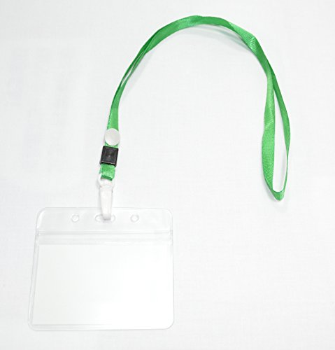 【CURCUS(サーカス)】 名札 ホルダー ネックストラップ/首かけ 吊り下げ式 名刺 IDカード 用 カラー全8色 収納袋とも (グリーン 50個)
