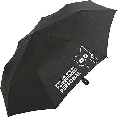 Mini Taschenschirm stabil Auf-Automatik Bedruckt Katzen haben Personal. - schwarz