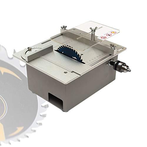 dami Mini Precisión Sierra De Mesa,Eléctrico Sierra De Banco 120W con Función Elevable,Velocidad Variable 2500-5000 RPM,Regla De Ángulo Ajustable De 0 A 90° para Bricolaje Cortar