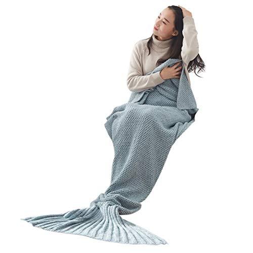 XILIUHU Caldo a Mano a Maglia di Filati Mermaid Coperta Morbida a Crochet per la casa Divano Sacco a Pelo Adulti Regali di Natale