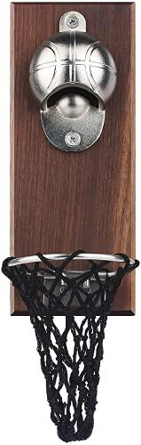 Abrebotellas magnético de baloncesto, abridor de pared de madera de hierro fundido con colector de tapa, regalo ideal para los amantes del baloncesto y la cerveza, uso como decoración de barra de