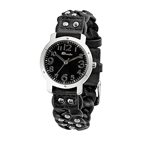 SINAR Reloj de pulsera analógico con correa trenzada y remaches de piel, acero y cuarzo TL-71-1