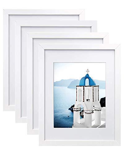 4er Set Bilderrahmen Weiß für Bilder 28 x 35 cm und 20 x 25 cm (mit Passepartout), MDF Fotorahmen Wandaufhängung für Collagen, Portraits, Urkunden, Moderne Raumdekoration
