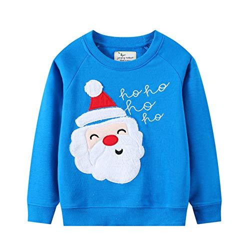 EULLA Baby Jungen Sweatshirt Kinder Warme Weihnachts Pullover Weihnachtspullis Streetwear Oberbekleidung 1-7 Jahre