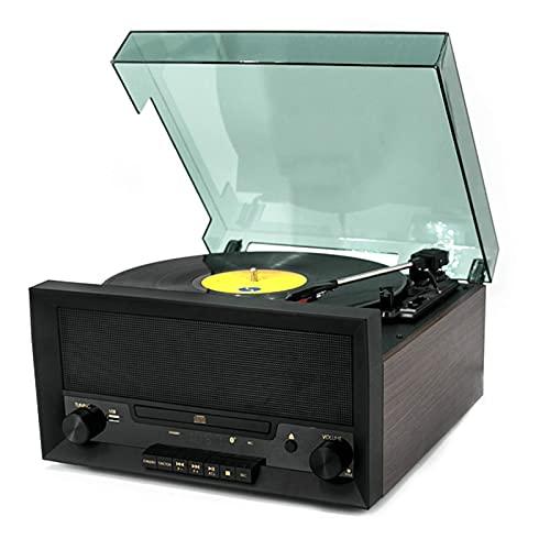 Tocadiscos Bluetooth Tocadiscos 3 velocidades accionado por correa, reproductores discos vinilo vintage Altavoces estéreo incorporados, conector para auriculares/entrada auxiliar/salida línea RCA
