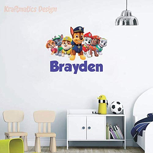 Paw Patrol Custom Name Series Nursery Baby Boy Wall Decal Vinyl Sticker for Kids Home D cor product image