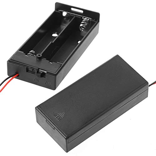 ZOUCY 3.7V 2X 18650 Caja de Almacenamiento de la Caja del Soporte de la batería Contenedor con Cable Interruptor ON/Off