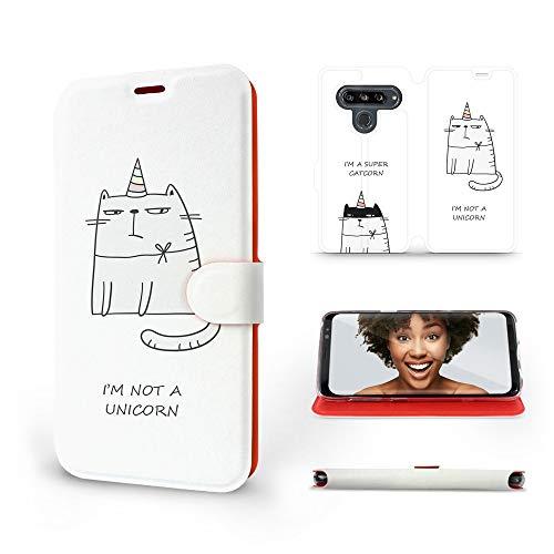 Mobiwear   Slim FLIP Hülle   Kompatibel mit LG G8s ThinQ, Made in EU handyhülle, Premium Schutzhülle, Transparent TPU Silicon, Book Style Hülle, Tasche - Super CATCORN