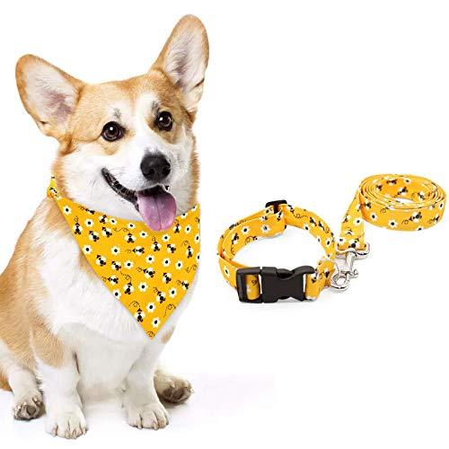 Bee Dog Collar Bandana Leash Set, Bumble Bee Adjustable Collar for Medium Puppy Outdoor Training Walking Buzzing Bee Pet Dog Gifts , Set of 3