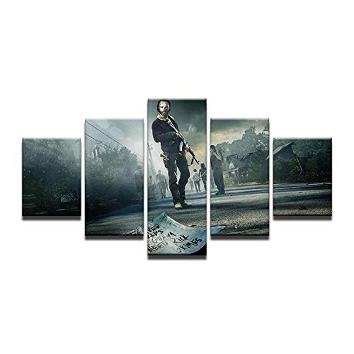 WUZHIXIN 5 Piezas Cuadro sobre Lienzo De Fotos X Lienzo Impresión Cuadros Decoracion Salon Grandes Cuadros para Dormitorios Modernos Mural Pared Listo para Colgar Película Walking Dead Paisaje