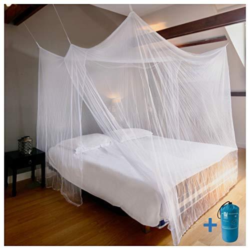 EVEN NATURALS MOSKITONETZ Doppelbett, großes Mückennetz für Bett, feinste Löcher,...