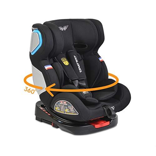 Moni asiento infantil Coronel grupo 0/1/2/3, 0-36 kg, inclinación 165°, Isofix, color:negro
