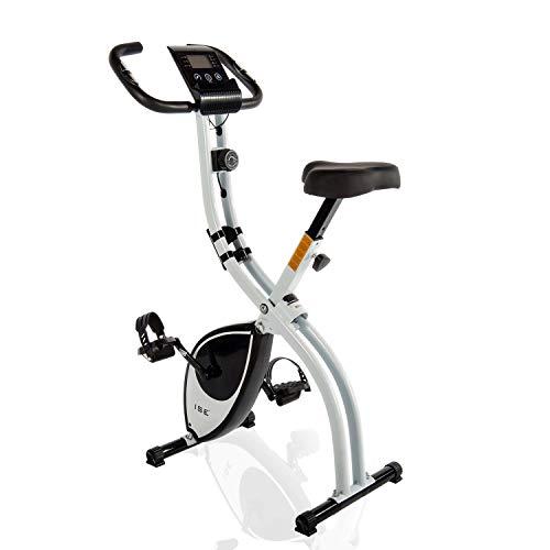 ISE F-Bike Bicicleta estática Cardio Training Fitness Plegable 8 Niveles de Resistencia Magnética Pantalla LCD Entrenamiento con Sensor de Frecuencia Cardiaco SY-810L