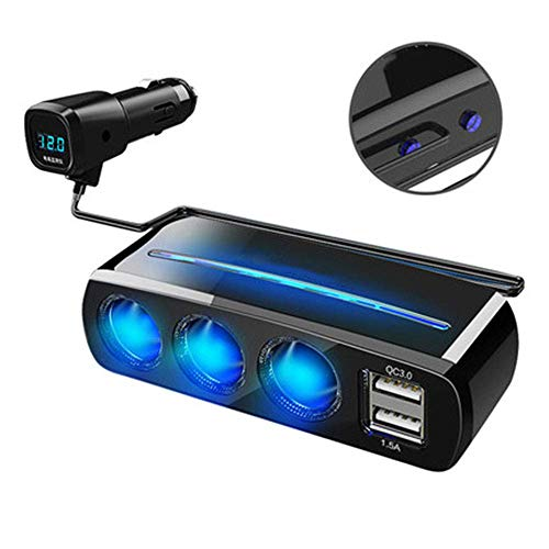 Dmqpp auto-oplader, Qc3.0 Fast Charge dubbele usb-/led-spanningsherkenning, multifunctionele auto-adapter, compatibel met mobiele telefoon/Bluetooth/hoofdtelefoon/camera/navigator