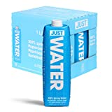 JUST Water - 100% Spring Water, Naturally Alkaline, 8.0 pH - Plant-Based, BPA Free, Sustainable and Fully Recyclable Boxed Water Bottle - Eco-Friendly - 1L / 33.8 Fl Oz (Pack of 6)