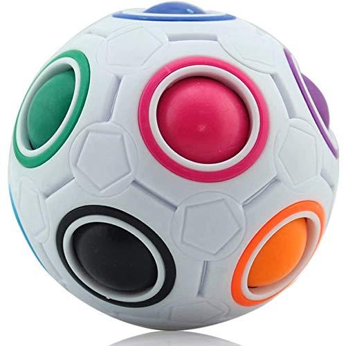 Bola mágica de arco iris, luminosa bola fidget cubo de velocidad, bola de puzle, cubo cerebral, juguete educativo para niños y adultos, color blanco