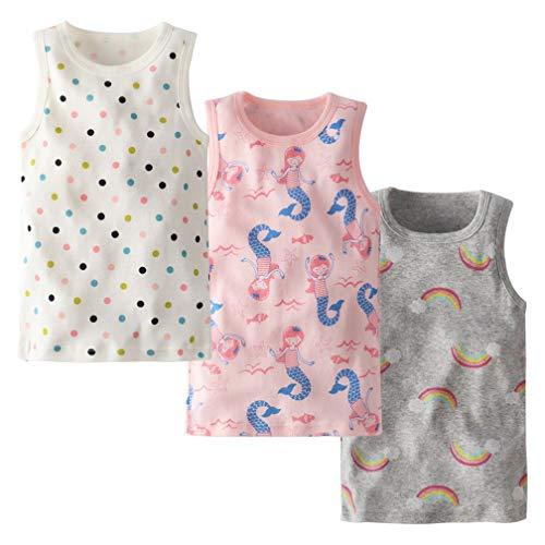 Allmeingeld - Chaleco sin mangas para niñas 100% algodón, 3 unidades para 1 – 7 años
