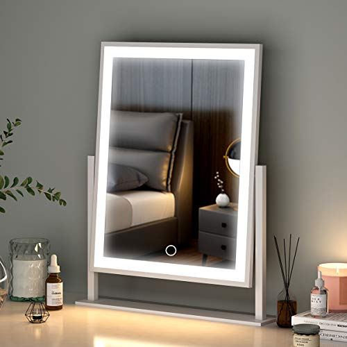 Lighted Makeup Mirror Hollywood Mirror Vanity Makeup mirror with Light Smart Touch Control 3Colors Dimable Light 360°rotation (16in, white)
