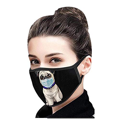 1 Stück Adult Black Mundschutz mit Katzenmotiv Waschbarer Mundschutz Nasenschutz mit Welpenabdruck Staubdichter wiederverwendbarer Bandana-Schal für den Außenbereich(H)