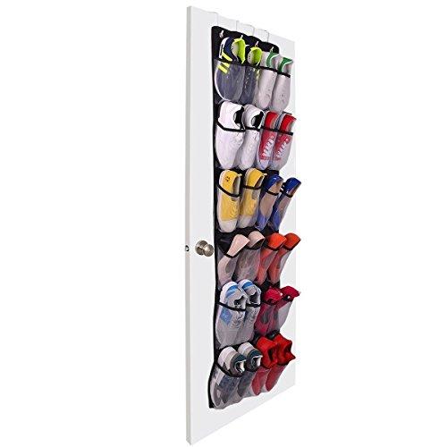 Organizador de zapatos para la puerta y para colgar en el armario, organizador de almacenamiento, 24 bolsillos, con ganchos sobre la puerta