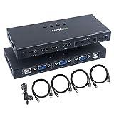 Switch KVM de VGA Puertos, 4 Entrada 1 Salida USB Conmutador KVM Compatible con Resolución 1920 * 1080 @ 60Hz, para 4 Computadoras Compartir Teclado y Monitor del Mouse