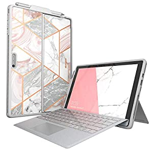 i-Blason Cosmo Case Designed for Microsoft Surface Pro 7 / Pro 6, Slim Glitter Protective Bumper Case Cover with Pencil Holder Compatible with Type Cover Keyboard (Marble)