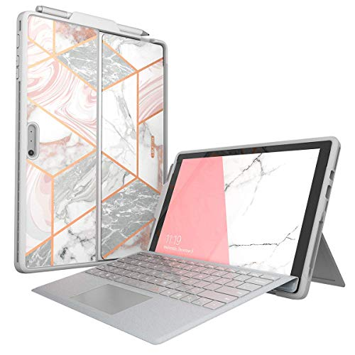 i-Blason Cosmo Case Designed for Microsoft Surface Pro 7 / Pro 6, Slim Glitter Protective Bumper Case Cover with Pencil Holder Compatible with Type Cover Keyboard (Marble) Indiana