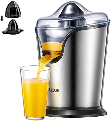 Aicok Electric Orange Juicer Squeezer, Citrus Juicer Electric with Two Interchangeable Cones Suitable for All Size of Citrus Fruits, 100W Ultra Quiet Motor, BPA Free, Brushed Stainless Steel