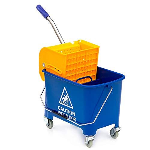 Reinigungswagen zur Treppenreinigung, Putzwagen mit 22 L Eimer und Mopp Presse
